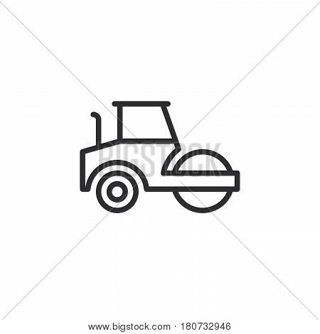 Road roller steamroller line icon outline vector sign linear style pictogram isolated on white. Symbol logo illustration. Editable stroke. Pixel perfect