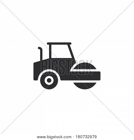 Road roller steamroller icon vector filled flat sign solid pictogram isolated on white. Symbol logo illustration. Pixel perfect