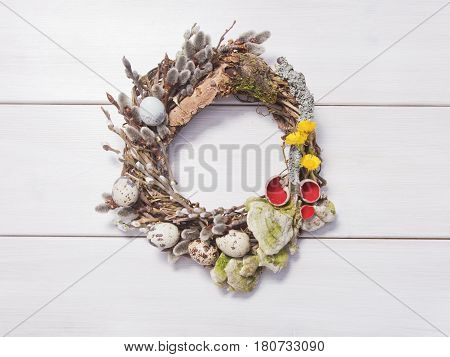 Wreath On A White Wooden Background