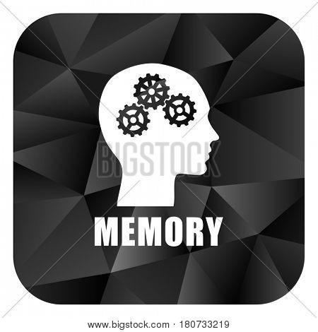 Memory black color web modern brillant design square internet icon on white background.