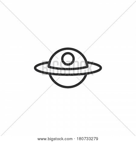 Unidentified flying object or UFO line icon outline vector sign linear style pictogram isolated on white. Alien space ship symbol logo illustration. Editable stroke. Pixel perfect