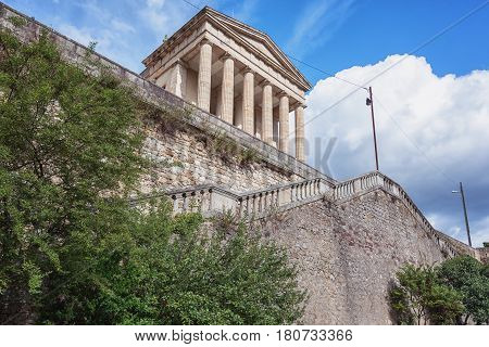 The neoclassical courthouse in Largentiere in the Ardeche region of France looks like a Greece temple