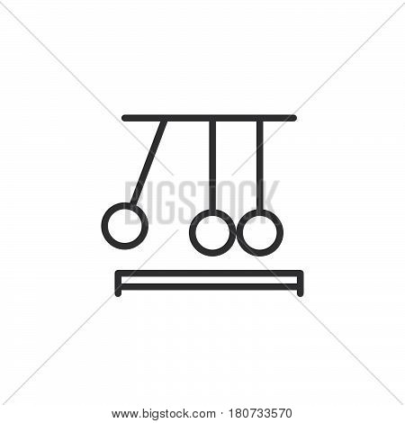Newton's cradle line icon outline vector sign linear style pictogram isolated on white. Executive ball clicker symbol logo illustration. Editable stroke. Pixel perfect