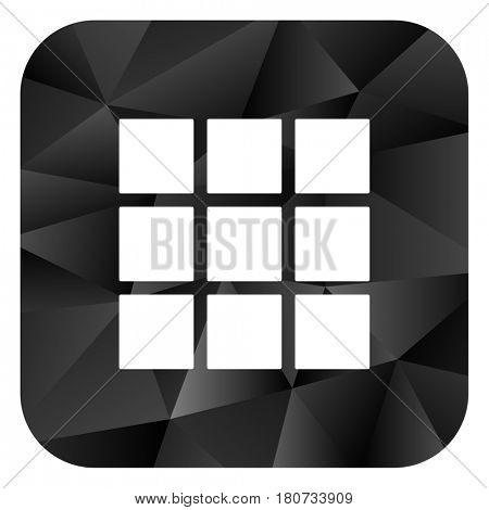 Thumbnails grid black color web modern brillant design square internet icon on white background.