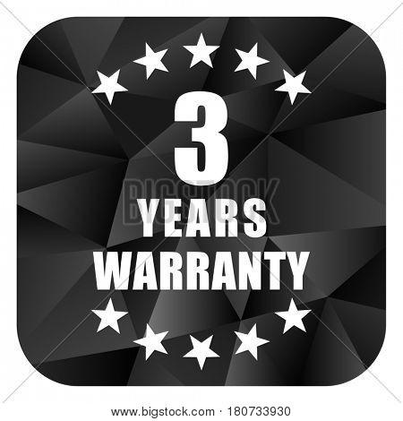 Warranty guarantee 3 year black color web modern brillant design square internet icon on white background.