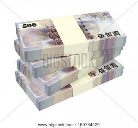 Taiwanese yuan bills isolated on white background. 3D illustration.