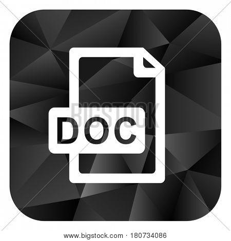 Doc file black color web modern brillant design square internet icon on white background.