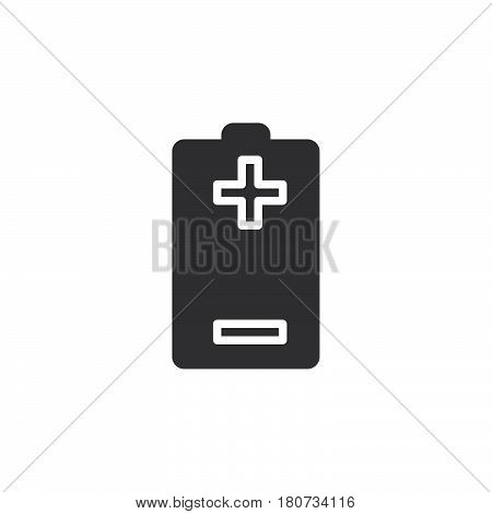 Battery plus minus icon vector filled flat sign solid pictogram isolated on white. Symbol logo illustration. Pixel perfect