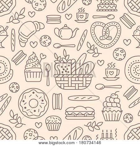 Bakery seamless pattern, food vector background of beige color. Confectionery products thin line icons - cake, croissant, muffin, pastry, cupcake, pie. Cute repeated illustration for sweet shop.