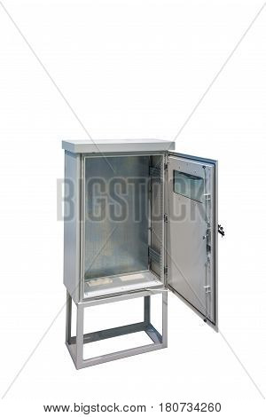 model of metal electric control box with glass on door isolated on white background
