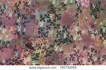 Texture of a delicate pink and purple fabric with black and white cross-stitch canvas. The picture can be used for bandanna summer blouses and dresses as well as for upholstery of furniture and wallpapers.