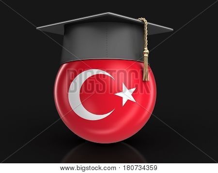 3D Illustration. Graduation cap and Turkish flag. Image with clipping path