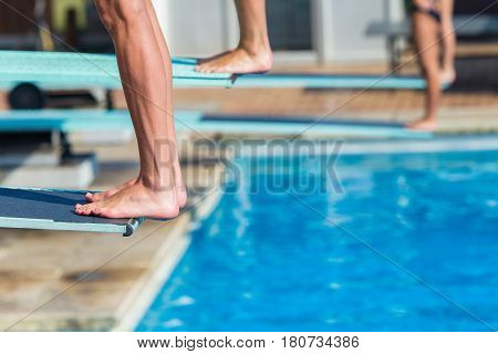 Aquatic Pool Divers Board Feet Closeup Abstract