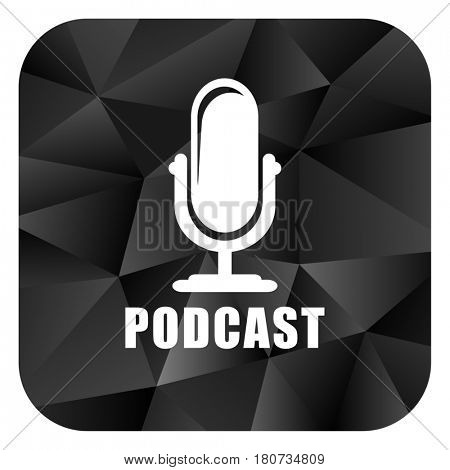 Podcast black color web modern brillant design square internet icon on white background.