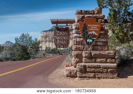 March 11 2017: Zion National Park United States: East Entrance to Zion National Park