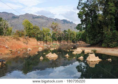 The River At The Village Of Ban Kong Lo On Laos