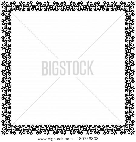 Classic vector square frame with arabesques and orient elements. Abstract ornament with place for text. Vintage black and white pattern
