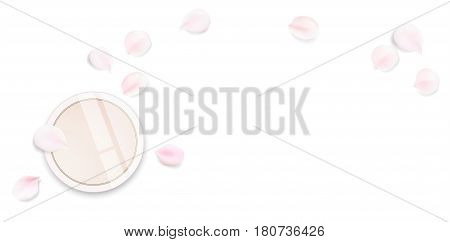 Fashion accessories collection. Makeup face skin powder with rose flower petals. Spring style organic cosmetics background. White and pink soft color romantic vector illustration design.
