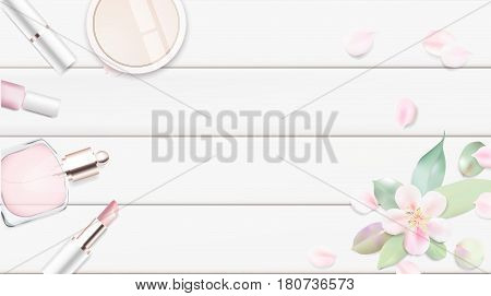 Fashion accessories collection. Makeup powder lipstick perfume with rose flower petals. Spring style organic cosmetics set isolated background. White and pink soft color romantic vector illustration design.