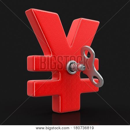 3D Illustration. Yen Sign with winding key. Image with clipping path