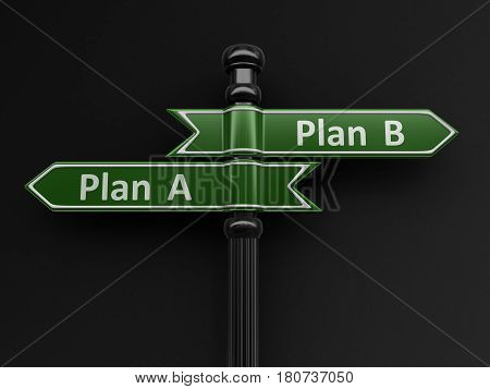 3D Illustration. Plan A and Plan B pointers on signpost. Image with clipping path