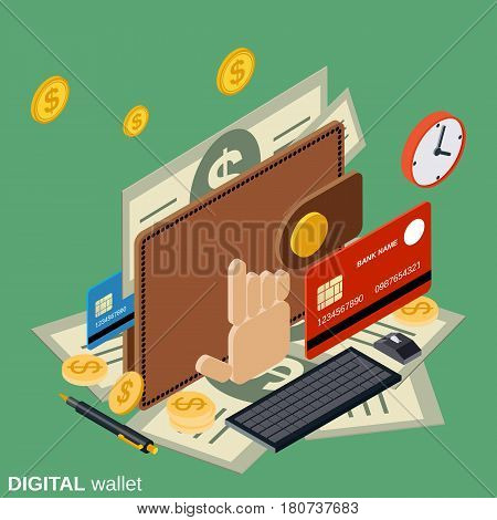 Digital wallet flat 3d isometric vector concept illustration