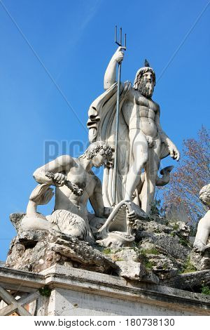 Piazza del Popolo (People's Square) named after the church of Santa Maria del Popolo in Rome Italy