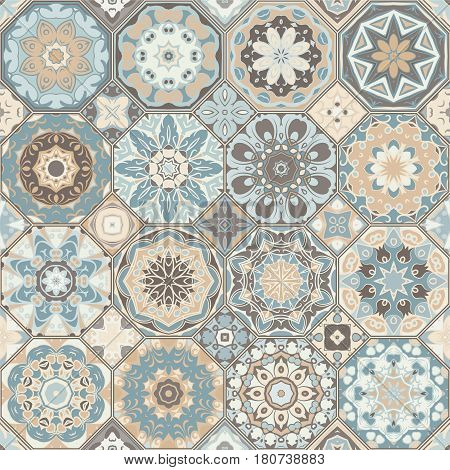 Set Of Octagonal And Square Patterns.