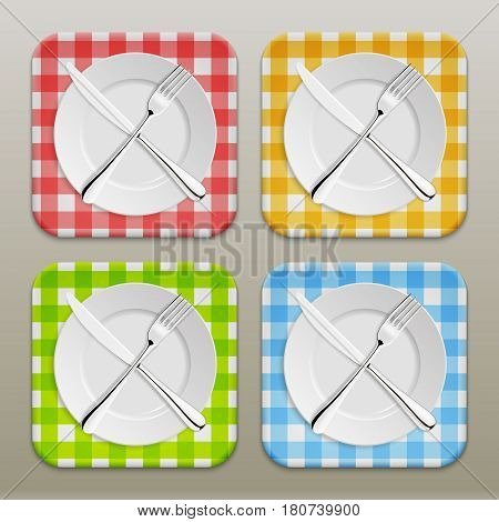 Dinner place setting icon set. Realistic white plate with silver fork and spoon on a checkered tablecloth background - red, yellow, green, blue. Design template, EPS10 illustration.