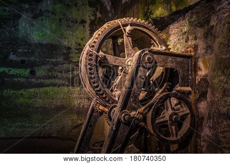 The Mechanism Of A Old And Vintage Winch
