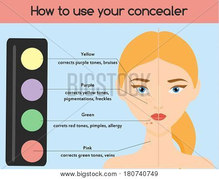 How to use concealer. Make up cosmetics beauty infographics for women. Skin health.