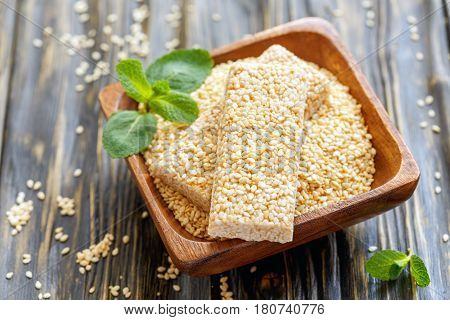 Bowl Of Sesame And Honey Bars With Sesame Seeds.