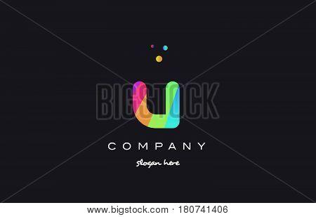 U Colored Rainbow Creative Colors Alphabet Letter Logo Icon