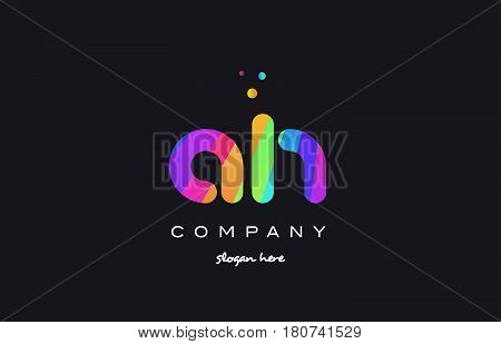Ah A H  Colored Rainbow Creative Colors Alphabet Letter Logo Icon