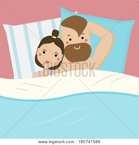 Happy young couple lying in bed in love. Hipster man and woman family taking a lazy rest. Romantic relationships honeymoon. Vector illustration