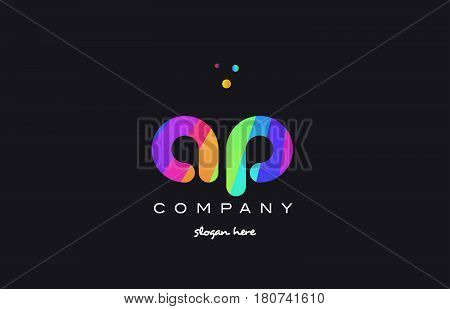 Ap A P  Colored Rainbow Creative Colors Alphabet Letter Logo Icon