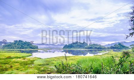 View on crocodile lake in Cat Tien National Park in Vietnam