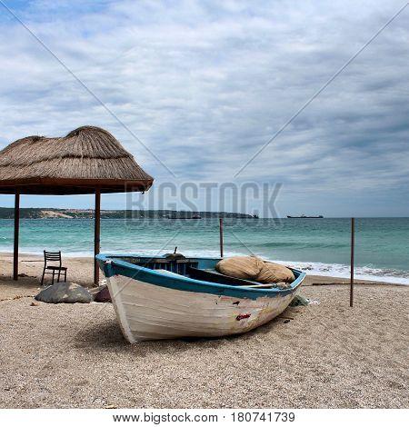 sandal, boat, ramshackle, old, sea, beach, sand