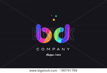 Bd B D  Colored Rainbow Creative Colors Alphabet Letter Logo Icon