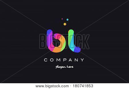 Bl B L  Colored Rainbow Creative Colors Alphabet Letter Logo Icon