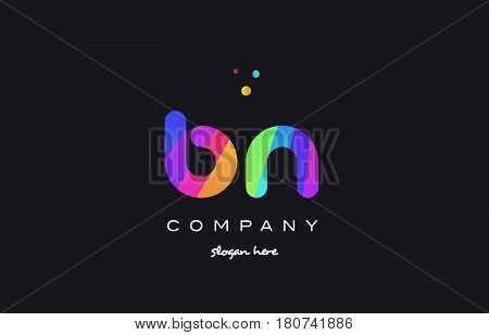 Bn B N  Colored Rainbow Creative Colors Alphabet Letter Logo Icon