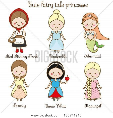 Cute kawaii fairy tales characters. Snow white red riding hood rapunzel cinderella and other princess in beautiful dresses. Cartoon style. Children stickers kids illustration scrapbook elements