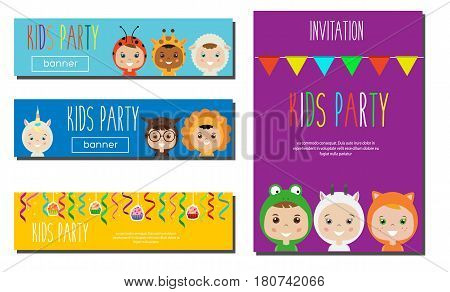 Kids Party Banners design template. Children in Animal Carnival Costumes. Party invitation mock up. Vector illustration