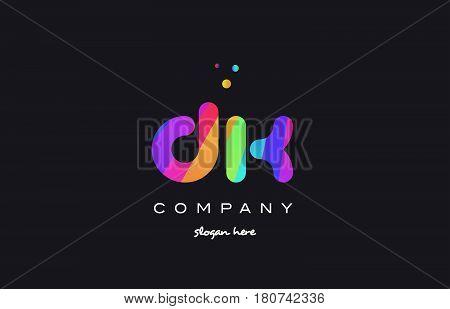 Dk D K  Colored Rainbow Creative Colors Alphabet Letter Logo Icon