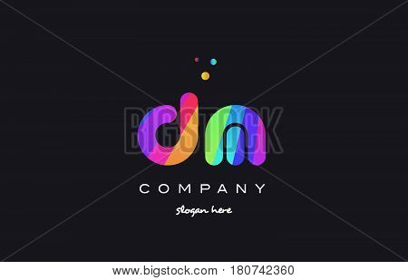 Dm D M  Colored Rainbow Creative Colors Alphabet Letter Logo Icon