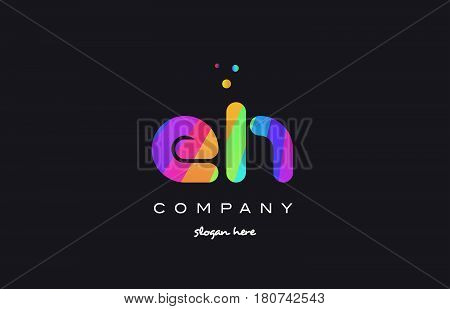 Eh E H  Colored Rainbow Creative Colors Alphabet Letter Logo Icon