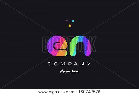 En E N  Colored Rainbow Creative Colors Alphabet Letter Logo Icon