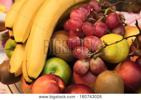 Fruit Assortment Of Bananas, Apples, Kiwi, Nectarines, Pears And Grapes