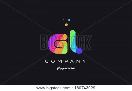Gm G M  Colored Rainbow Creative Colors Alphabet Letter Logo Icon