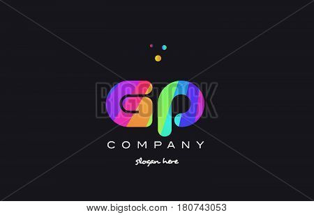 Gp G P  Colored Rainbow Creative Colors Alphabet Letter Logo Icon